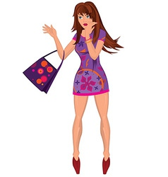 Cartoon young woman in mini purple dress with bag vector image vector image