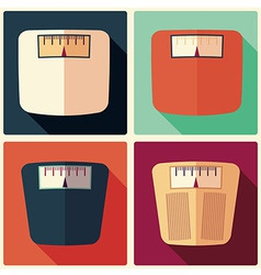 Collection of four bathroom weight scales vector image