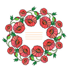 decorative wreath of poppies vector image vector image
