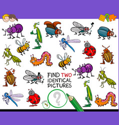 find two identical cartoon insects game for kids vector image vector image