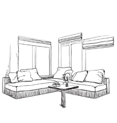 Hand drawn sketch of modern living room interior vector image