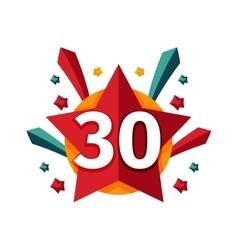 Happy thirtieth birthday badge icon vector