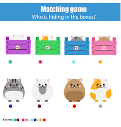 Matching children education game kids activity vector