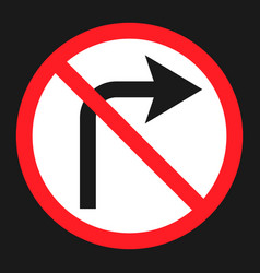 no right prohibition turn sign flat icon vector image vector image