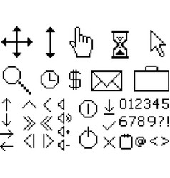 Pixel icons vector image vector image