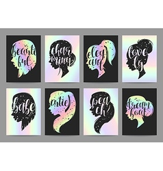 Set templates womens elegant silhouettes with vector image