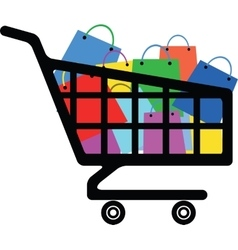 Shopping cart with a lot of colorful bags vector image vector image