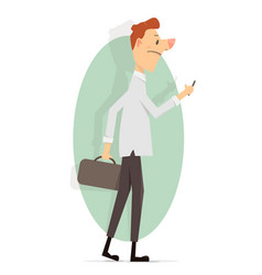 young man with a phone in his hand vector image vector image