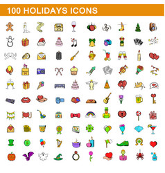 100 holidays icons set cartoon style vector image