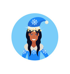 african american woman wearing blue hat merry vector image