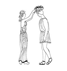 ancient greece the girl puts a laurel wreath on vector image