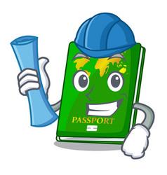 Architect green passport in the cartoon shape vector