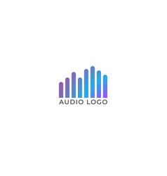 Audio wave spectrum visual logo rounded spectrum vector