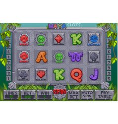 aztec slots stone icons complete menu of vector image
