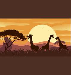 Background scene with giraffe in savanna field vector
