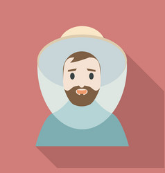 beekeeper man face icon flat style vector image