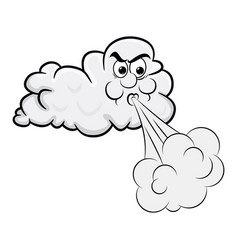 blowing cloud cartoon design isolated on white vector image