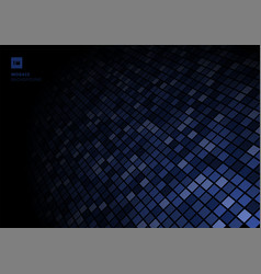 blue mosaic pixel pattern on fade out on black vector image