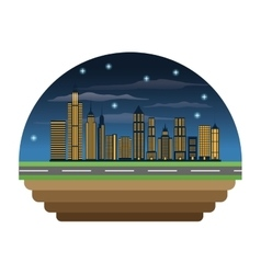 Buildings of night city design vector