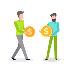Business idea people males with money coin vector