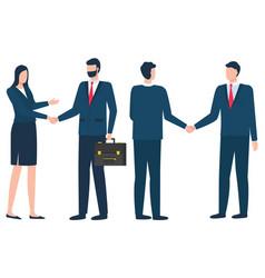 Businessman at meeting man and woman handshake vector