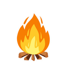 campfire and camping sign in cartoon style vector image
