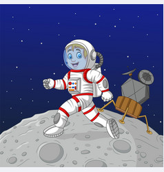 cartoon boy astronaut walking on moon vector image