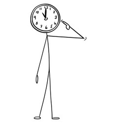 Cartoon man or businessman with clock as head vector