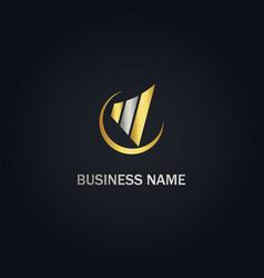 Chart business progress gold logo vector
