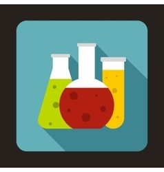 Chemical laboratory flasks icon in flat style vector image