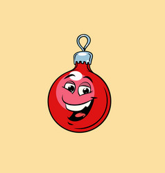 christmas ball decoration cute smiley face vector image
