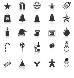Christmas icons with reflect on white background vector