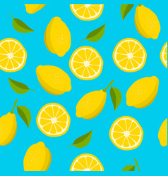 citrus seamless pattern hand drawn lemon vector image