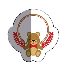 Color sticker circle with teddy bear with bow tie vector