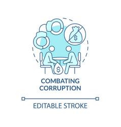 Combating corruption blue concept icon vector