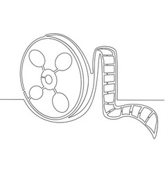 continuous one line film tape concept vector image