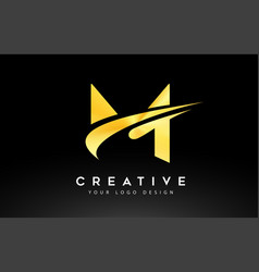 Creative m letter logo design with swoosh icon vector