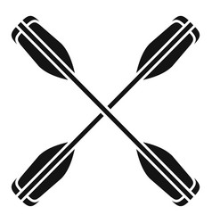 Crossed kayak paddle icon simple style vector