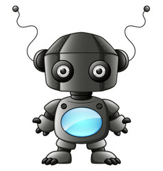 cute cartoon black robot isolated on white backgro vector image