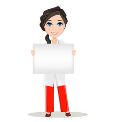 cute cartoon smiling doctor character in medical vector image