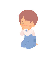 Cute little boy character praying standing on his vector