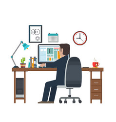 designer in the workplace workstation vector image