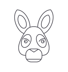 donkey head line icon sign vector image