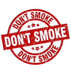 Dont smoke round red grunge stamp vector