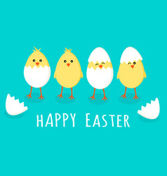 easter greeting card with four cute little yellow vector image