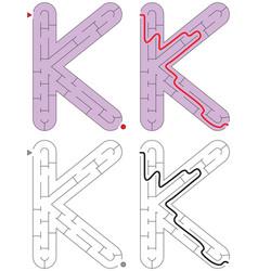 Easy alphabet maze - letter k vector