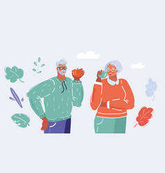 Elderly man and woman eat apples vector