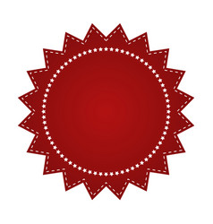 Embroidered red round ribbon stamp isolated vector
