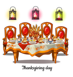 festive table with food on thanksgiving day vector image