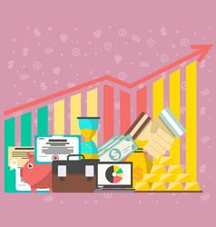 Financial growing diagram in flat design vector